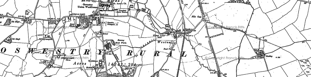 Old map of Weston in 1874