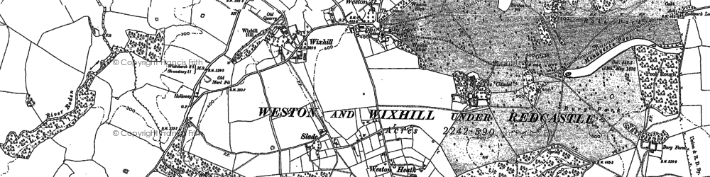 Old map of Weston in 1880
