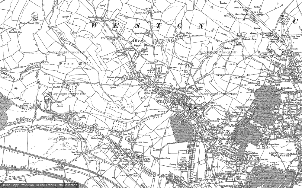 Old Map of Historic Map covering Weston Park in 1883