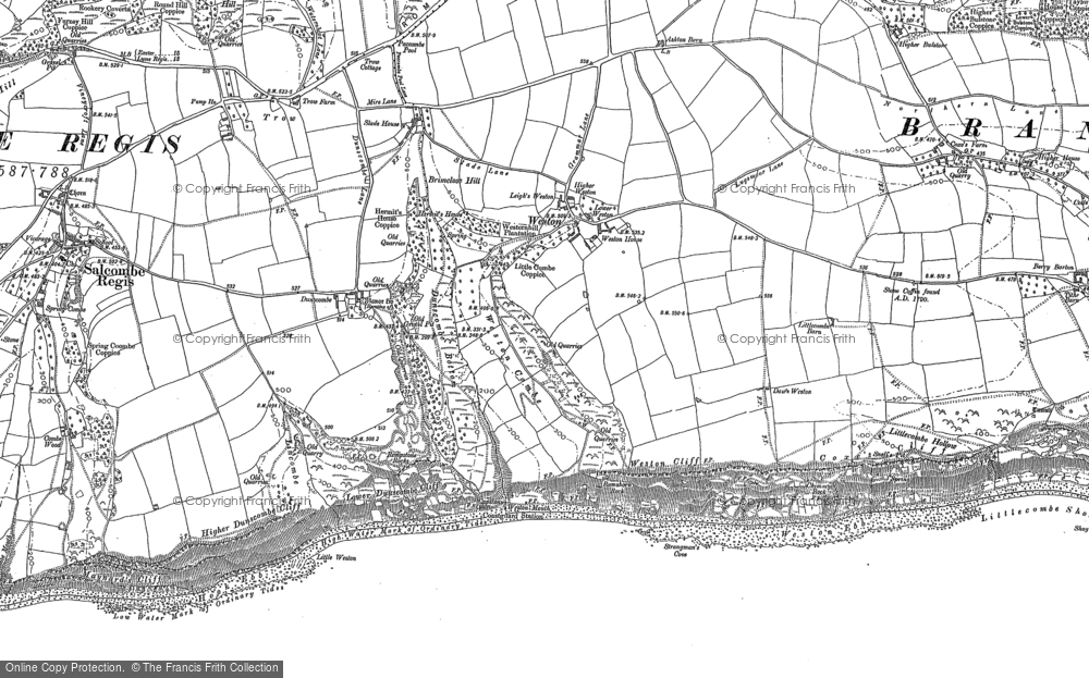 Old Map of Historic Map covering Weston Mouth in 1888
