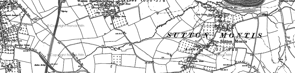 Old map of Weston Bampfylde in 1885