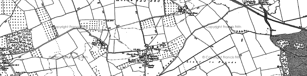 Old map of Weston Beggard in 1886
