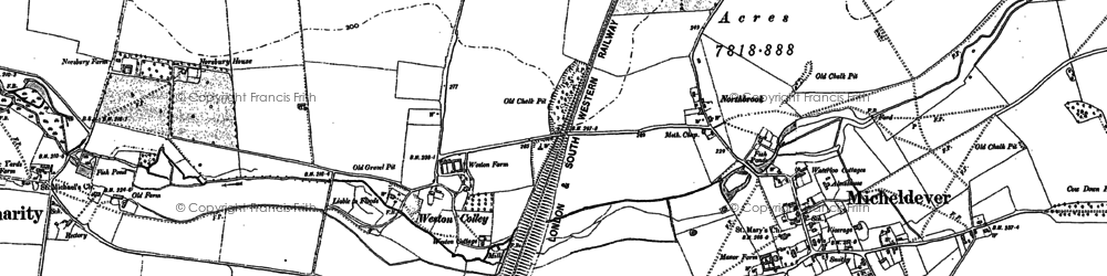 Old map of Weston Colley in 1894