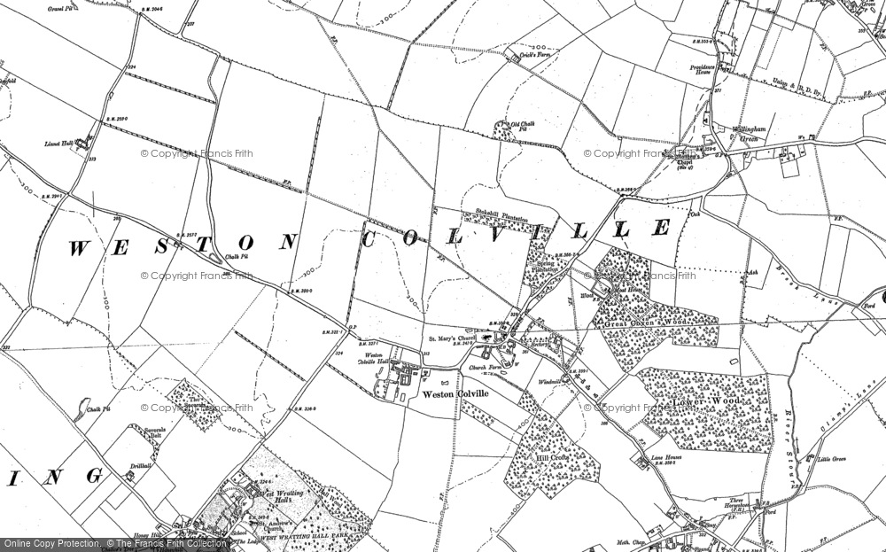 Old Map of Historic Map covering Weston Green in 1885