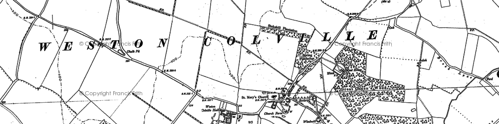 Old map of Weston Colville in 1885