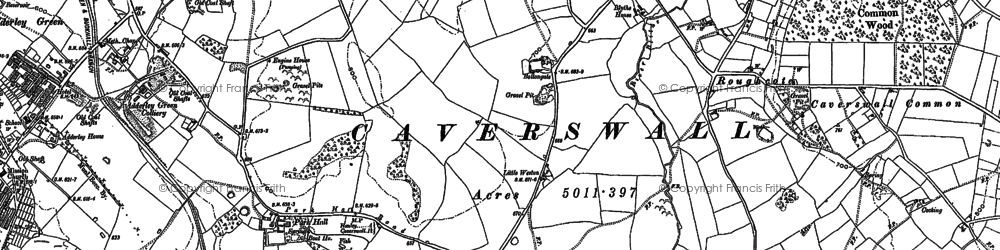 Old map of Weston Coyney in 1879