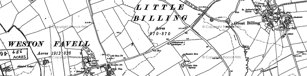 Old map of Abington in 1884