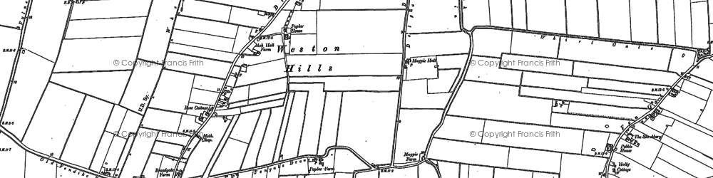 Old map of Weston Hills in 1887