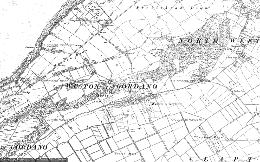 Old Map of Weston in Gordano, 1883 - 1902 in 1883