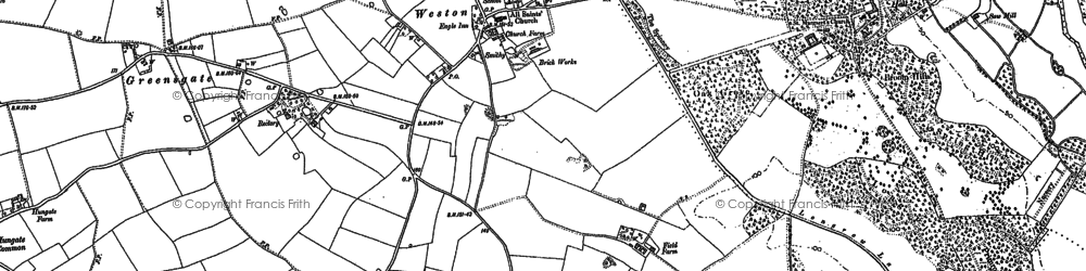 Old map of Weston Green in 1882