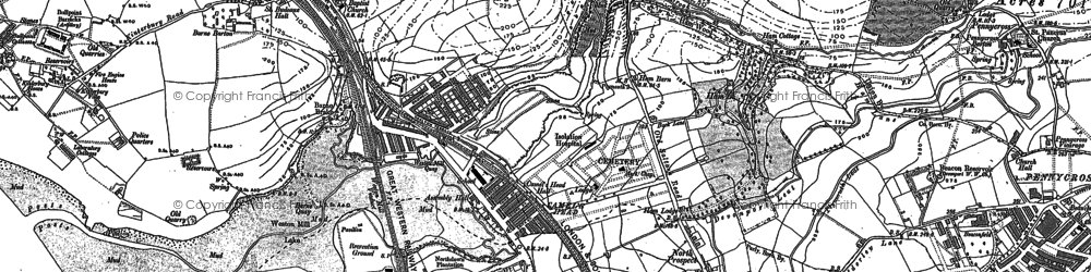 Old map of Weston Mill Lake in 1894