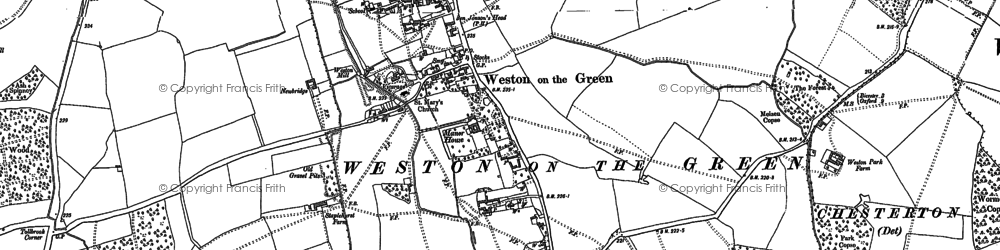 Old map of Weston-on-the-Green in 1898