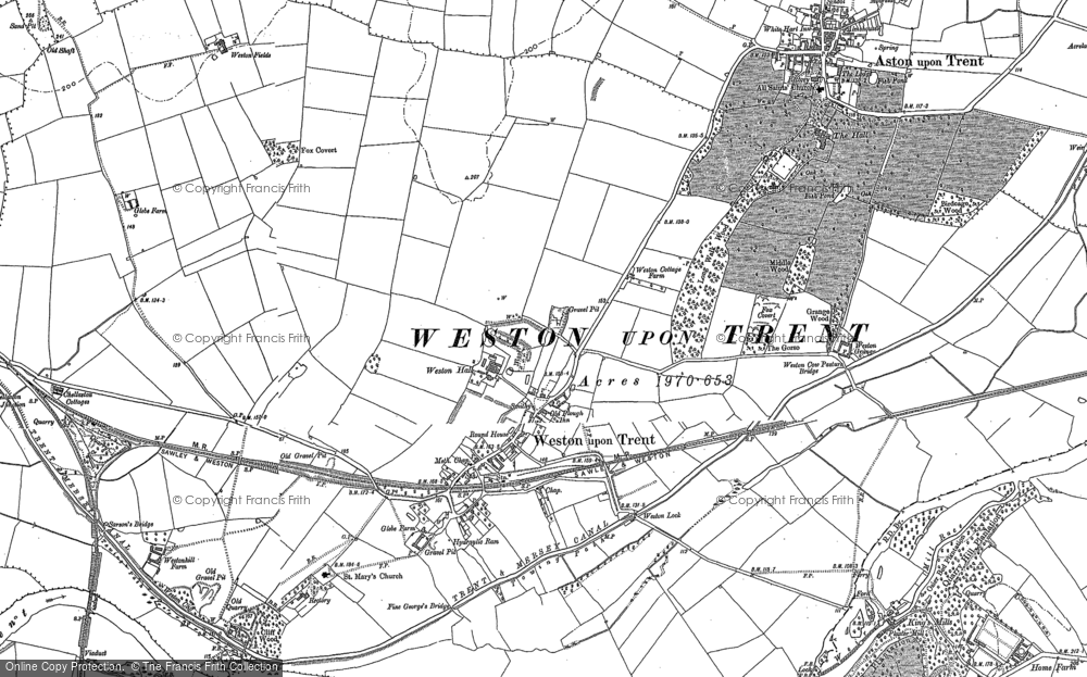 Old Map of Weston-on-Trent, 1899 in 1899