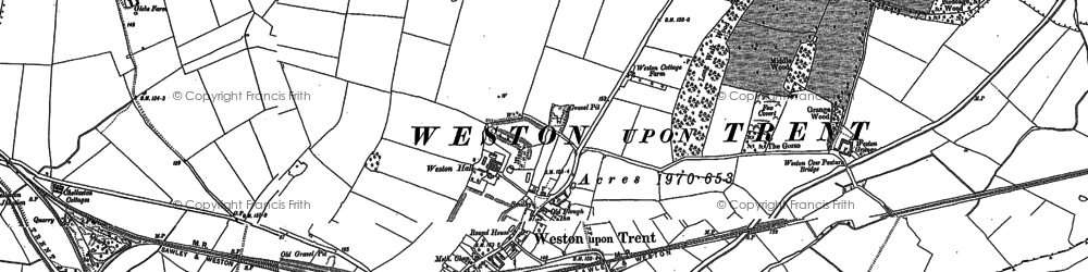 Old map of Weston-on-Trent in 1899