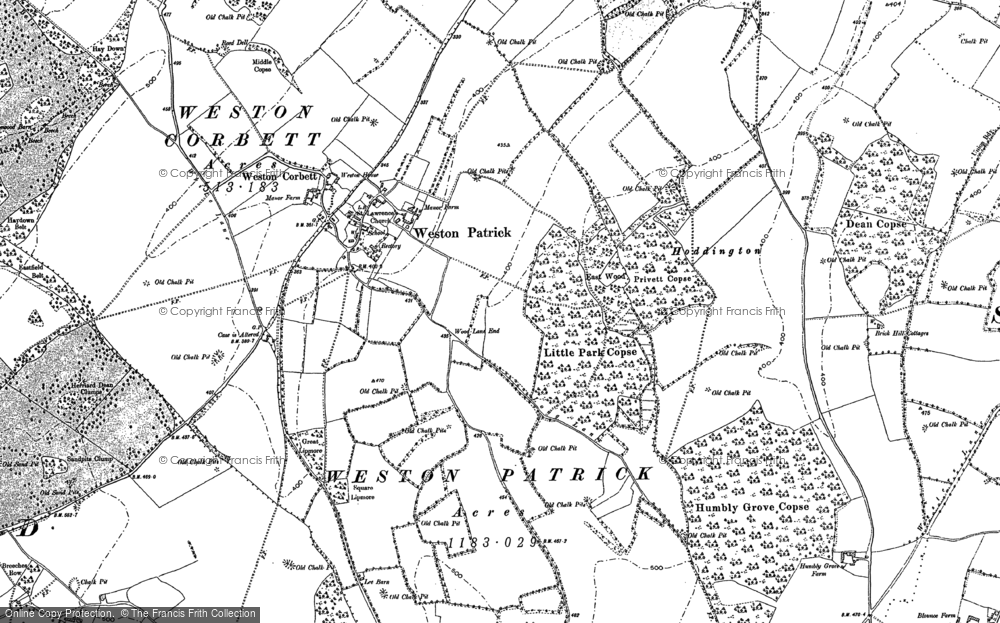 Old Map of Weston Patrick, 1894 in 1894
