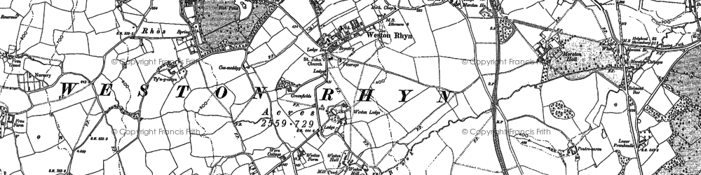 Old map of Weston Rhyn in 1874