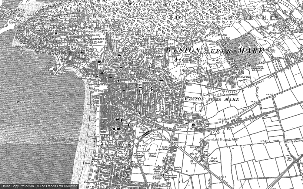 Old Map of Weston-super-Mare, 1884 - 1902 in 1884