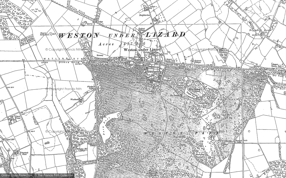 Old Map of Weston Under Lizard, 1900 in 1900