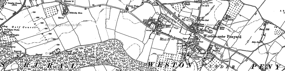 Old map of Weston under Penyard in 1887