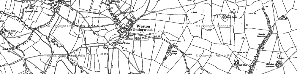 Old map of Weston Underwood in 1880