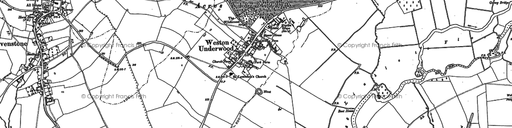 Old map of Weston Underwood in 1899
