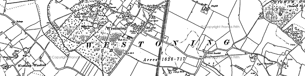 Old map of Westoning in 1881