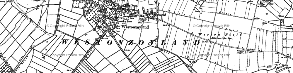 Old map of Westonzoyland in 1885