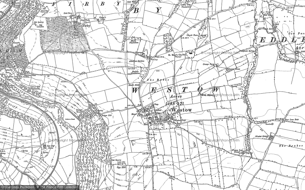 Old Map of Historic Map covering Westow Low Grange in 1891
