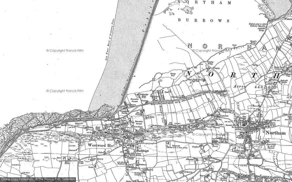 Old Map of Westward Ho!, 1886 - 1887 in 1886