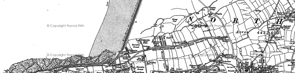 Old map of Westward Ho! in 1886
