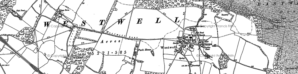Old map of Westwell in 1896
