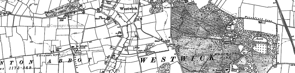 Old map of Westwick Hill in 1884