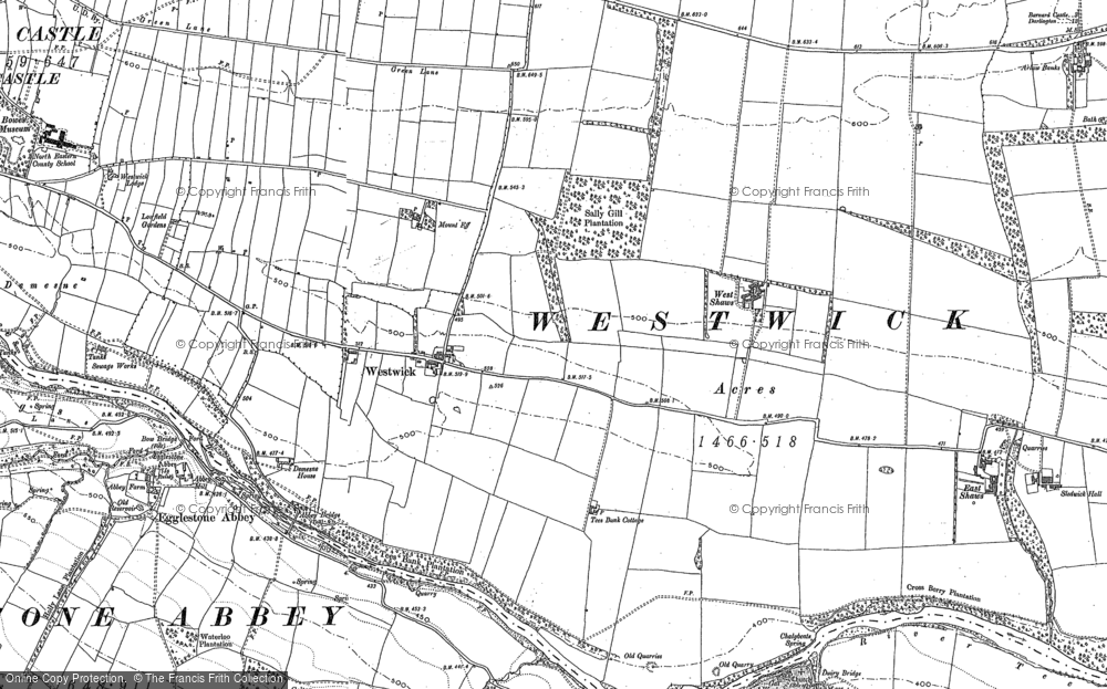 Old Map of Historic Map covering Egglestone Abbey in 1896