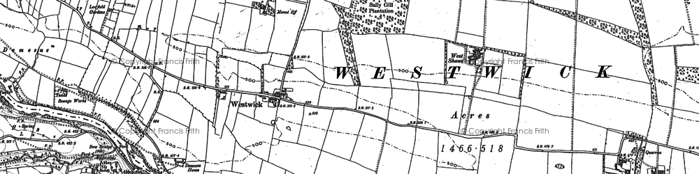 Old map of Westwick in 1896
