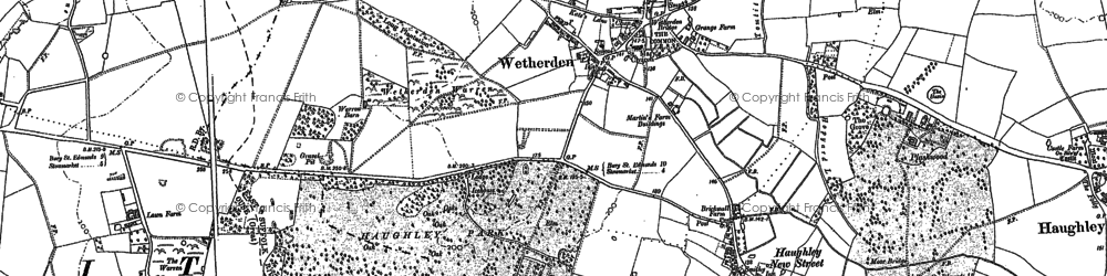Old map of Wetherden in 1883