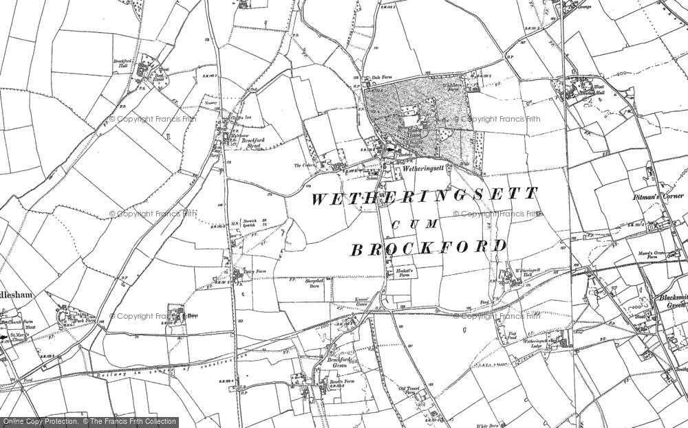 Old Map of Wetheringsett, 1884 in 1884