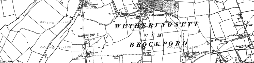 Old map of Wetheringsett in 1884