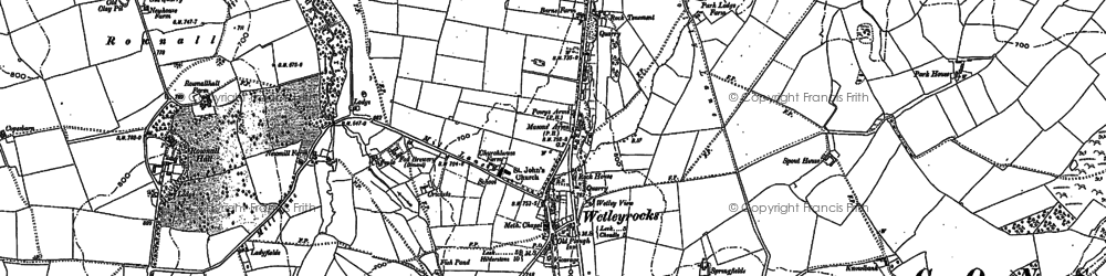 Old map of Wetley Rocks in 1879