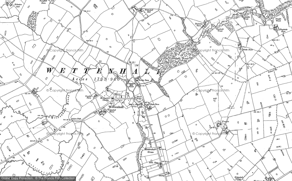 Old Map of Historic Map covering Wettenhall Hall in 1897