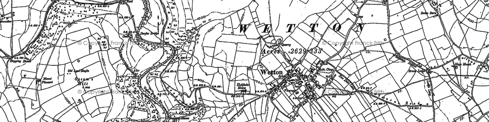 Old map of Wetton Hill in 1898