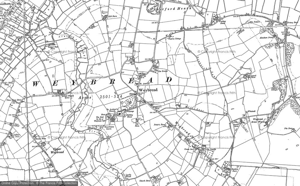 Old Map of Weybread, 1903 - 1904 in 1903