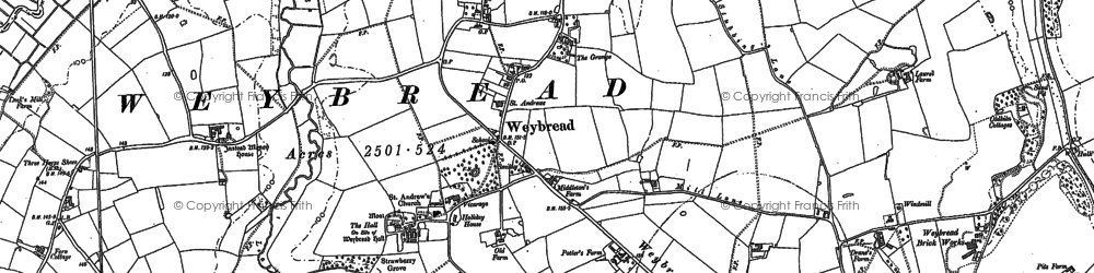 Old map of Weybread in 1903