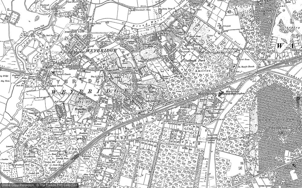 Old Map of Weybridge, 1895 in 1895