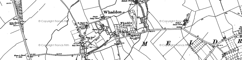 Old map of Whaddon in 1885