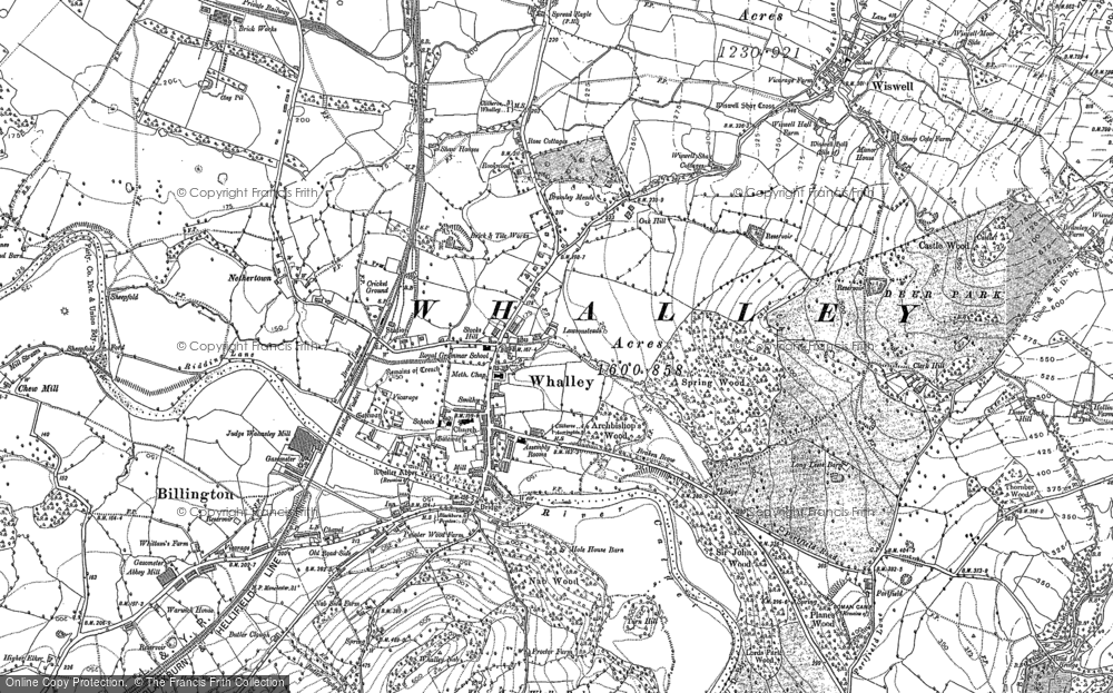Old Map of Historic Map covering Whalley Banks in 1892