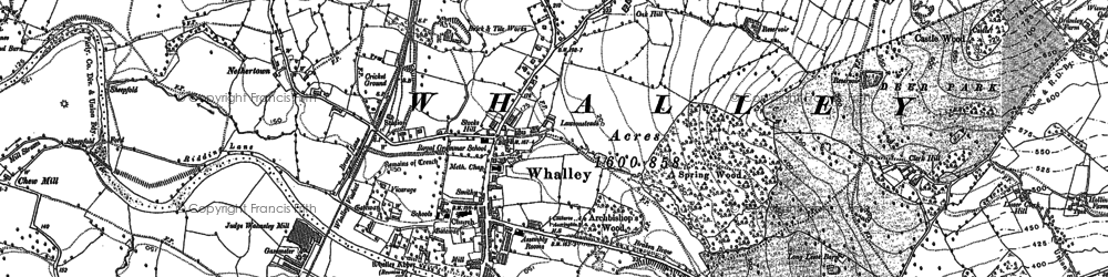 Old map of Whalley in 1892
