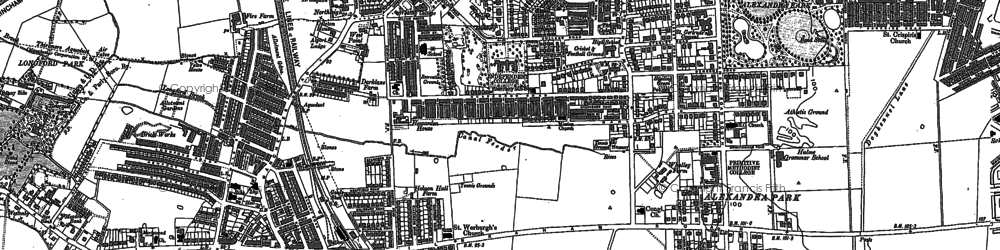 Old map of Whalley Range in 1890