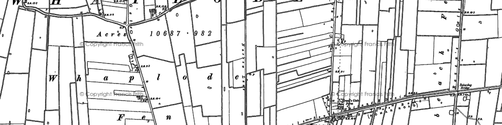 Old map of Whaplode St Catherine in 1886