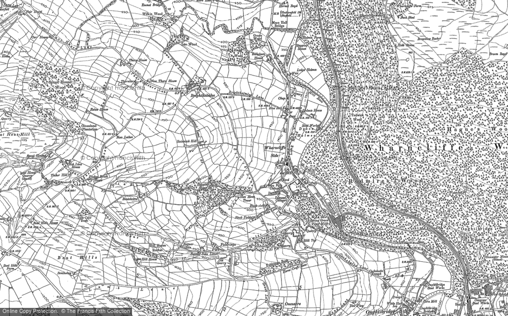 Old Map of Wharncliffe Side, 1891 in 1891