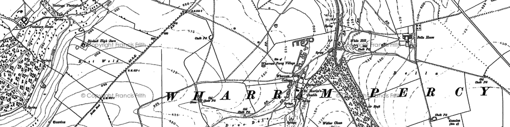 Old map of Wharram Percy Village in 1888